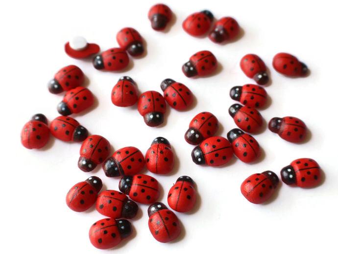 Wooden Ladybug Cabochons Lady Bug Cabs Flat Back Cabochons Adhesive Cabs Beetle