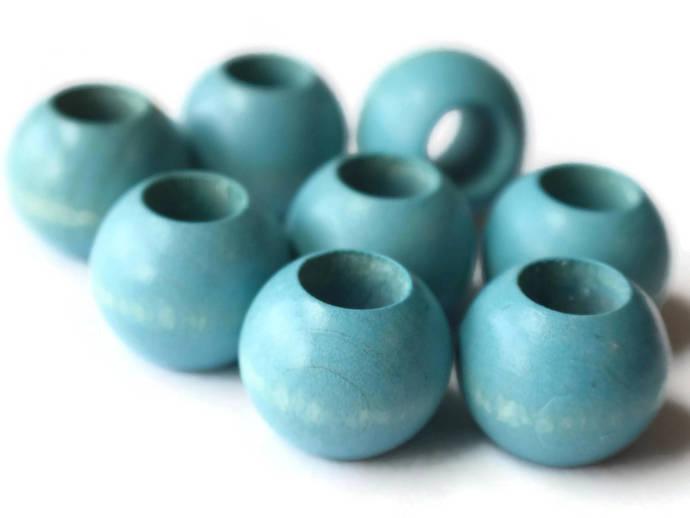 8 20mm Sky Blue Wooden Beads Large Hole Beads Wood Macrame Beads Round Bead Ball
