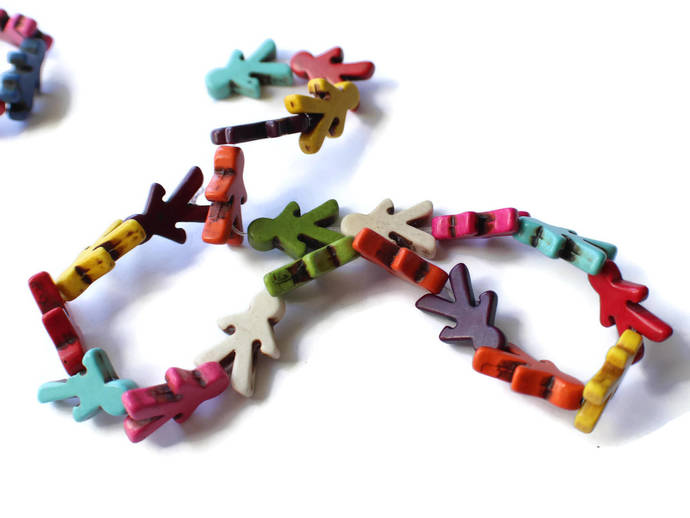 Girl and Boy Beads Mixed Color Dyed Howlite Beads Full Strand Jewelry Making