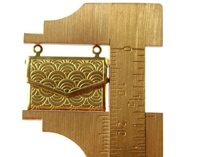 6 Envelope Lockets Purse Lockets 21mm  x 14mm Brass Pendants Rectangle Pendants