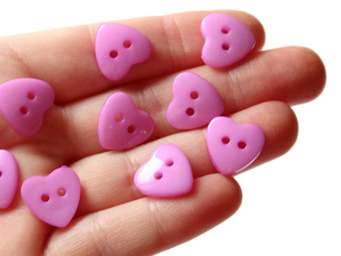 30 14mm Purple Heart Buttons Plastic Buttons Acrylic Buttons Love Buttons