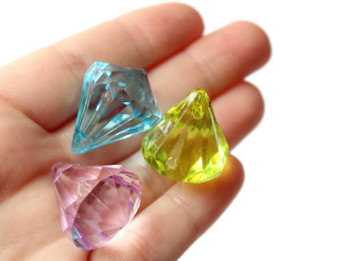 8 26mm Clear Mixed Color Beads Faceted Diamond Beads Acrylic Jewel Beads Jewelry