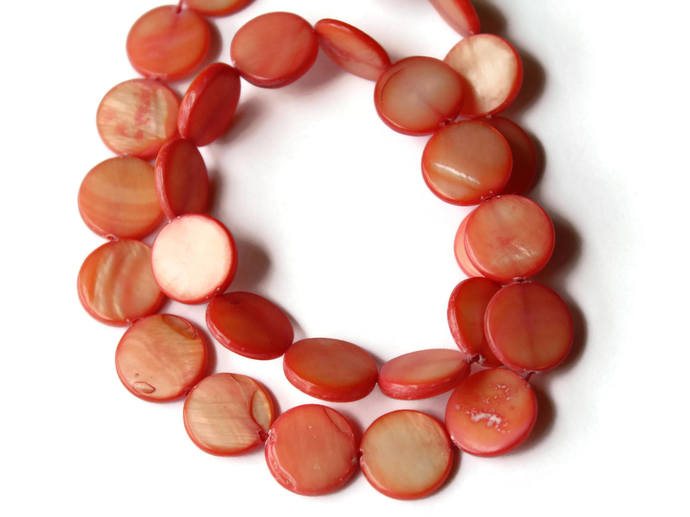 13mm Orange Mother of Pearl Disc Beads Shell Coin Beads Jewelry Making Beading