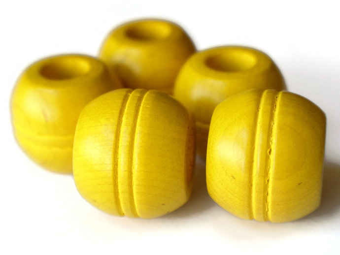 5 25mm Round Yellow Wood Beads Macrame Beads Large Hole Beads Vintage New Old