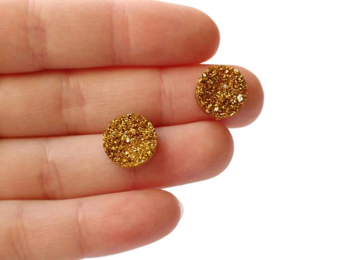 Golden Glitter Druzy Cabochons Yellow Glitter Faux Druzy Cabochons 12mm Round