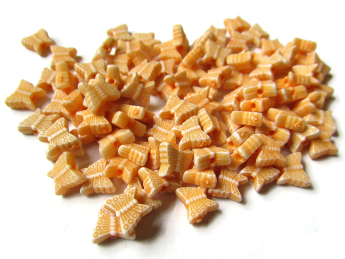 100 Orange Butterfly Beads Plastic Butterflies Small Beads Moth Beads Acrylic