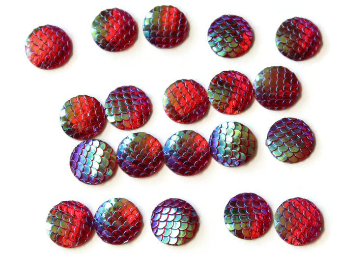 20 12mm Red Small Scale Cabochons Mermaid Scale Cab Dragon Scale Cabochons Fish