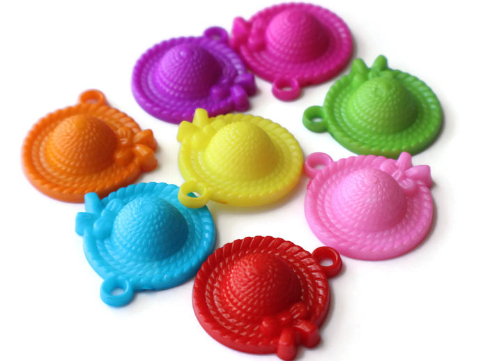 8 31mm Straw Hat Charms Wide Brimmed Hat Beads Mixed Color Charms Plastic Charms