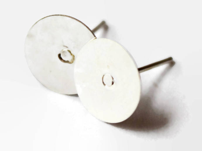 Silver Earring Posts with 10mm Pads Iron Ear Studs Stud Earrings Jewelry Making
