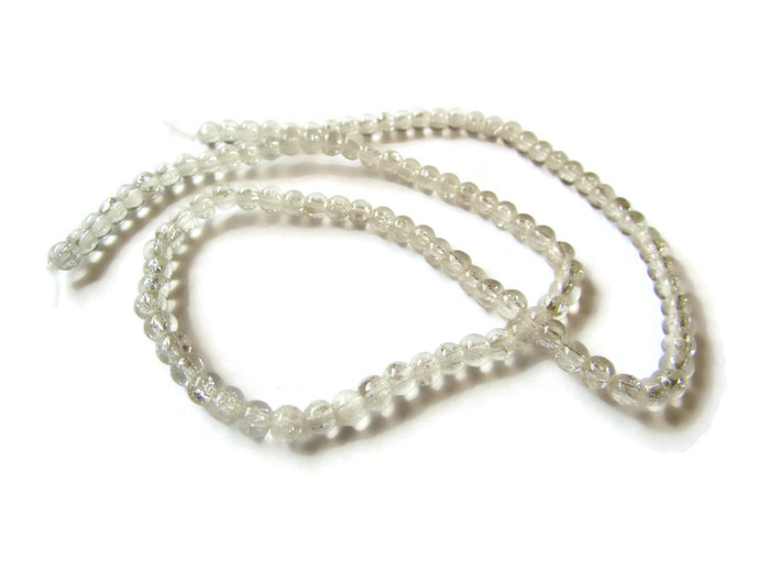 4mm Colorless Clear Crackle Glass Round Beads Full Strand Jewelry Making Beading