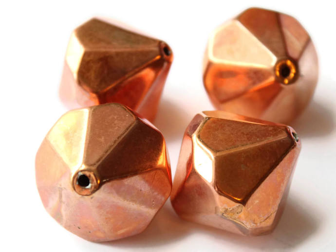 4 30mm Vintage Faceted Bicone Beads Red Copper Beads Copper Plated Plastic Beads