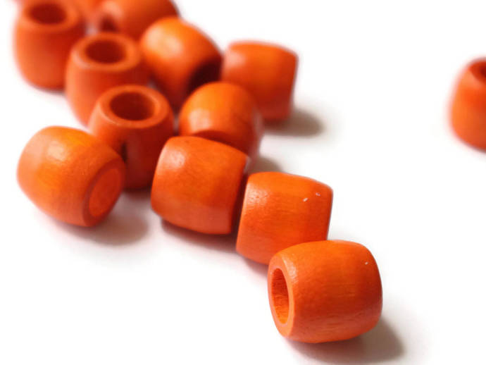 16 12mm Orange Wood Barrel Beads Wooden Macrame Tube Beads Vintage New Old Stock