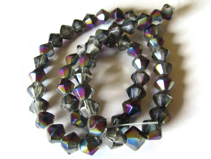 55 6mm Grey Beads with AB Coating Full Strand Crystal Glass Beads Bicone Beads