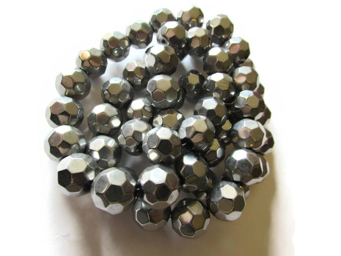 23 Round Silver Crystal Beads 12mm Faceted Ball Beads Jewelry Making Beading
