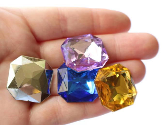10 23mm Square Jewel Cabochons Plastic Gems Silver Foil Back Cabochons Square