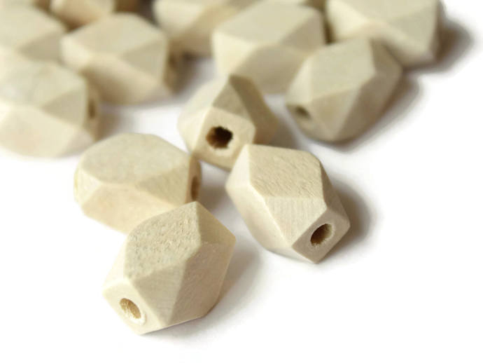 20 16mm Faceted Rectangle Beads Wood Beads Unfinished Beads Raw Beads Light