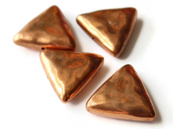 4 25mm Red Copper Triangle Beads Vintage Copper Plated Plastic Beads Geometric