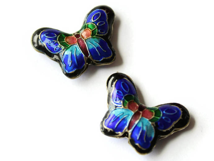 2 23mm Black and Blue Butterflies Cloisonne Butterfly Beads Handmade Metal and