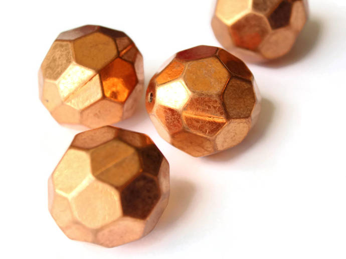 4 30mm Faceted Round Beads Vintage Red Copper Plated Plastic Bead Jewelry Making