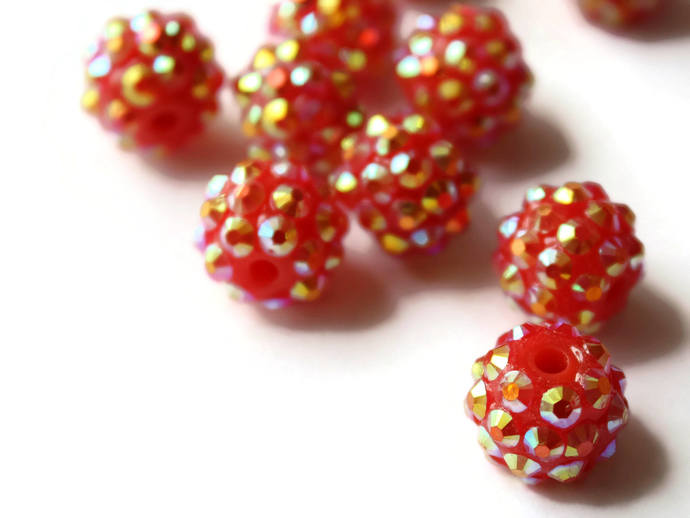 12mm Beads Red Beads Resin Beads Rhinestone Beads Round Beads Sparkle Beads