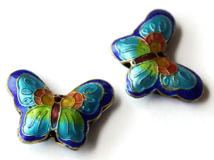 2 23mm Sky and Royal Blue Butterflies Cloisonne Butterfly Beads Handmade Metal