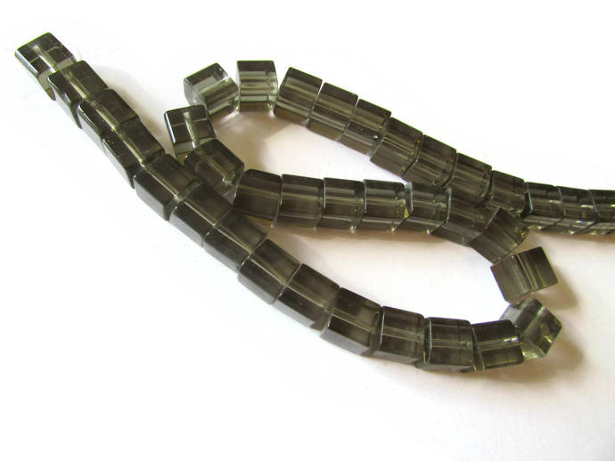 40 8mm Smokey Grey Cube Beads Crystal Glass Beads Full Jewelry Making Beading