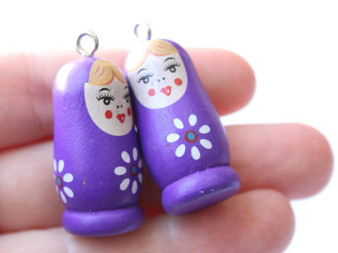 4 37mm Purple Wooden Matryoshkas Wood Russian Doll Charms Nesting Doll Pendant