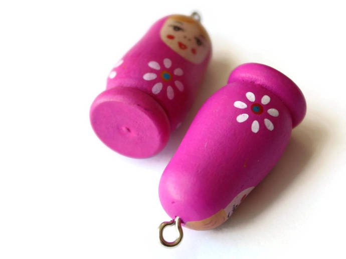 4 37mm Bright Pink Wooden Matryoshkas Wood Russian Doll Charms Nesting Doll