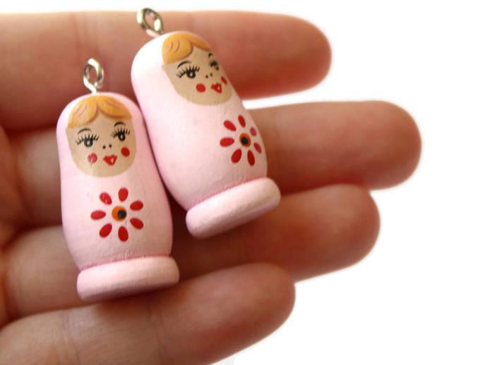 4 37mm Light Pink Wooden Matryoshkas Wood Russian Doll Charms Nesting Doll
