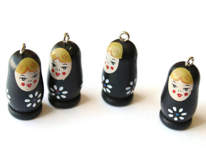 4 37mm Black Wooden Matryoshkas Wood Russian Doll Charms Nesting Doll Pendant