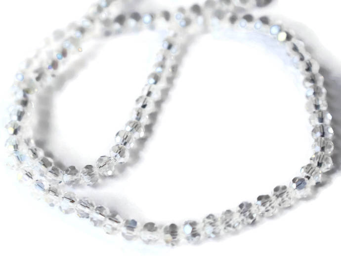 100 4mm Beads Clear Crystal Beads Faceted Round Beads Full Strand 16 Inches