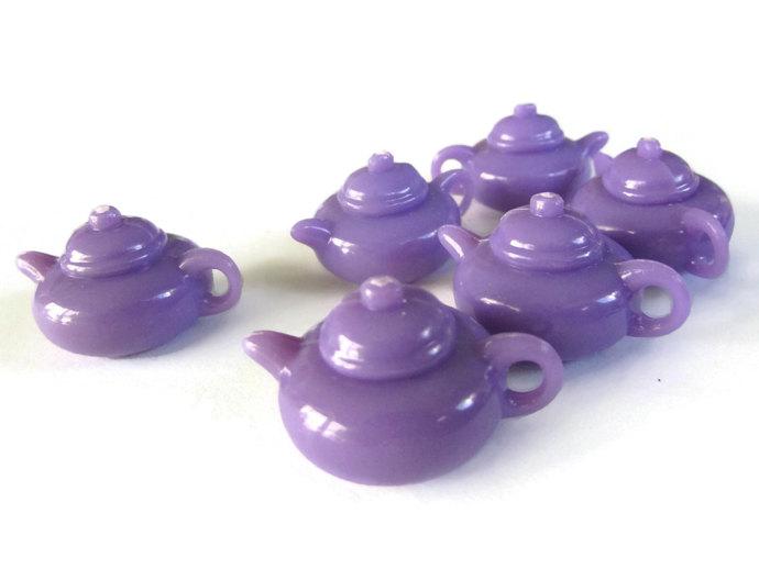 6 28mm Purple Teapot Charms Miniature Tea Pots Plastic Charms
