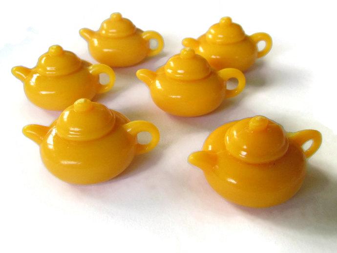 6 28mm Orange Teapot Charms Miniature Teapots Plastic Charms Mini Teapots
