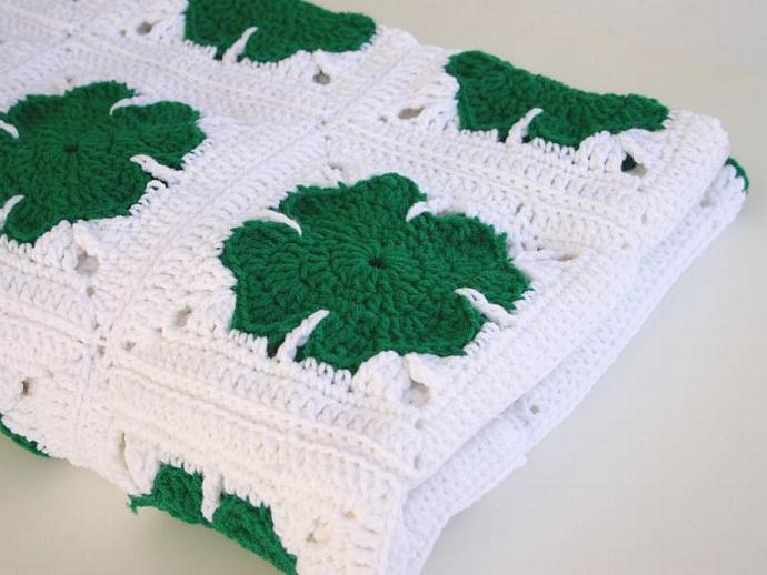 Shamrock afghan crochet PDF Pattern St. Patrick's Day holiday granny square