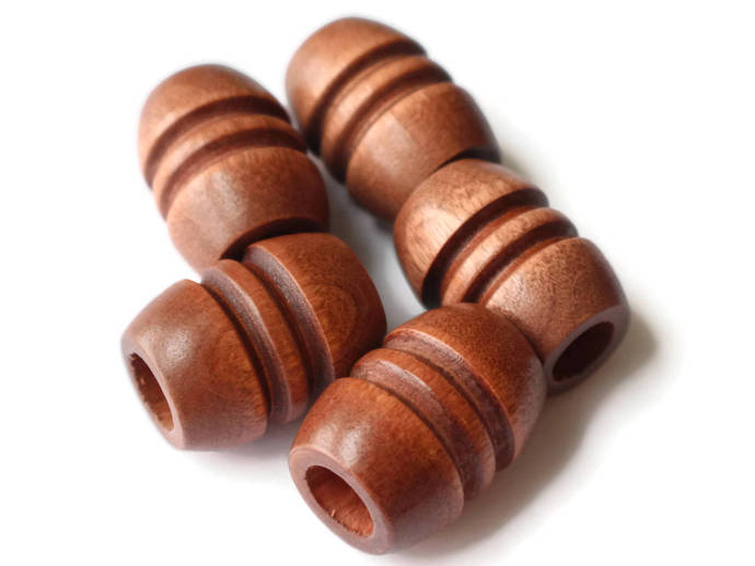 Quantity 5 29mm Fluted Barrel Beads Large Hole Beads Medium Brown Beads Wood