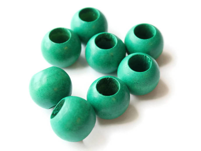8 20mm Green Wooden Beads Large Hole Beads Wood Macrame Beads Round Bead Ball