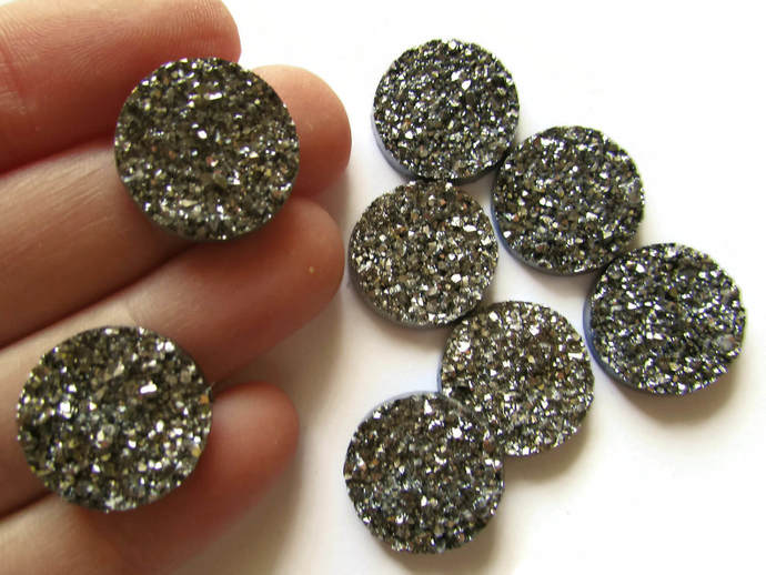 8 18mm Silver Druzy Cabs Faux Druzy Cabochons Resin Cabochons Round Cabochons