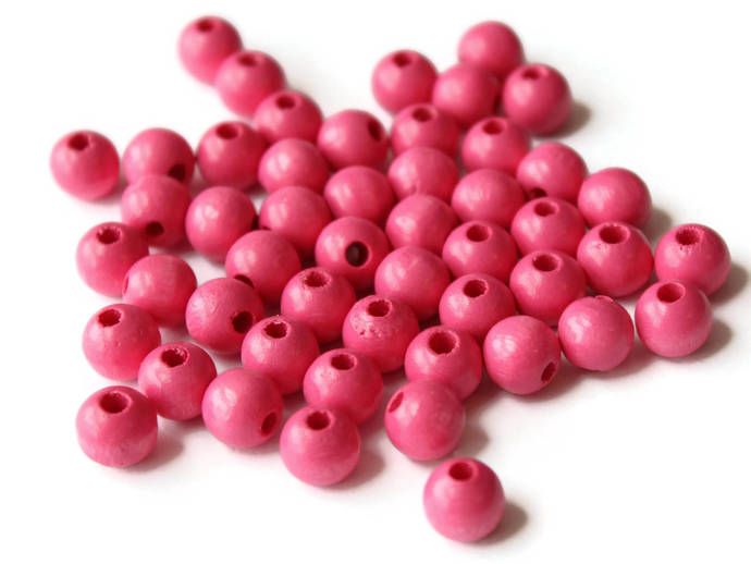 50 8mm Round Bright Pink Beads Vintage Wooden Ball Beads Small Round Spacer