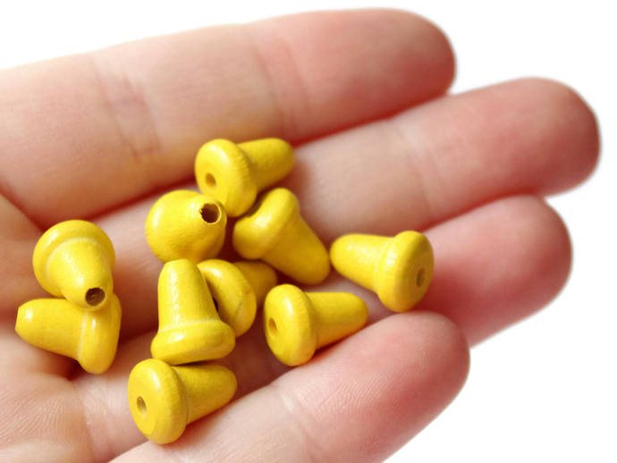 20 Yellow Wooden Bell Beads 11mm Wood End Beads Vintage Macrame Beads Jewelry