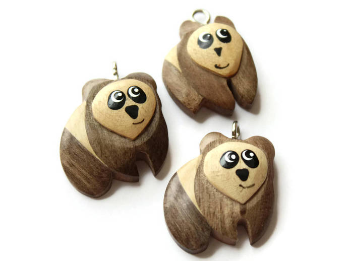 Wooden Panda Pendant Vintage Wood Panda Charm Jewelry Making Beading Supplies