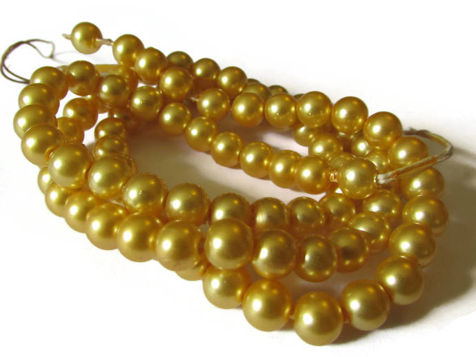 80 6mm Beads Yellow Pearl Beads Vintage Beads Jewelry Making Beading Supplies