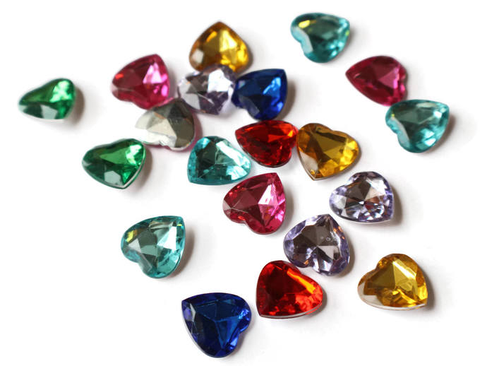 20 16mm Heart Jewel Cabochons Plastic Gems Silver Foil Back Cabochons Round Cut