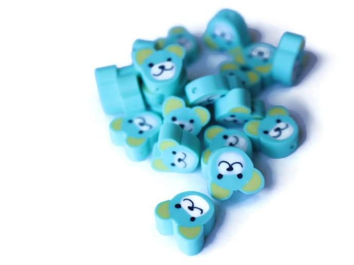 20 Blue Bear Head Beads Animal Beads Polymer Clay Beads Cute Beads Kawaii Beads