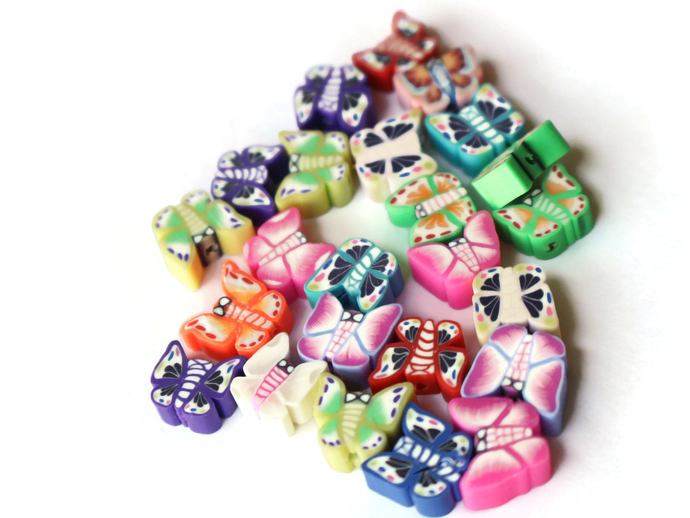 24 Clay Butterfly Beads Polymer Clay Beads Mixed Beads Multicolor Beads Moth