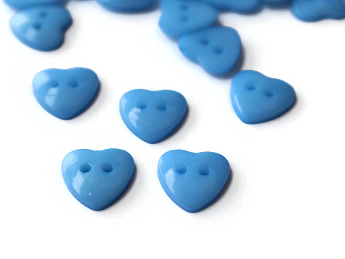 30 14mm Blue Heart Buttons Plastic Buttons Acrylic Buttons Love Buttons Jewelry