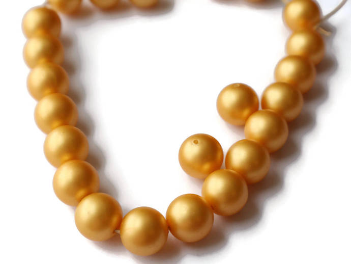 23 14mm Golden Pearls Faux Pearl Beads Yellow Pearl Beads Vintage New Old Stock