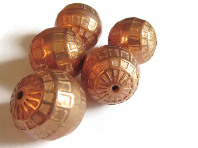 20mm or 29.5mm Round Beads Vintage Red Copper Beads Copper Plated Plastic Bead