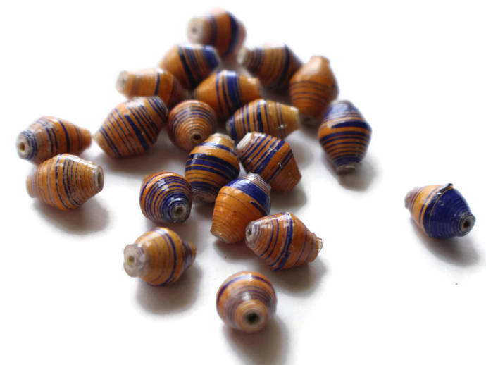 20 10mm Blue and Orange Striped Beads Ugandan Paper Beads Fair Trade Beads