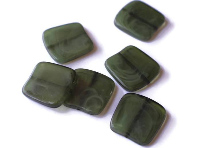 6 21mm Flat Square Beads Dark Green Swirl Beads Jewelry Making Beading Supplies