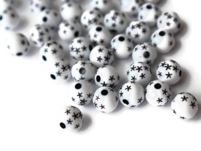 60 8mm White Round Resin Beads with Black Stars Black and White Star Beads